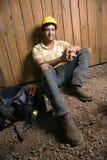 Odpoczynkowy Pracownik Budowlany Zdjęcie Stock