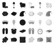 Odpoczynku i sen czer? mono ikony w ustalonej kolekcji dla projekta Akcesoria i wygoda symbolu zapasu wektorowa sie? royalty ilustracja