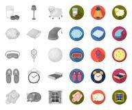 Odpoczywa i śpi mono, płaskie ikony w ustalonej kolekcji dla projekta, Akcesoria i wygoda symbolu zapasu wektorowa sie? ilustracji