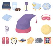 Odpoczywa kreskówek ikony w ustalonej kolekci dla projekta i śpi Akcesoria i wygoda wektorowy symbol zaopatrują sieci ilustrację ilustracja wektor