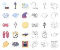 Odpoczywa kresk?wk? i ?pi, kontur ikony w ustalonej kolekcji dla projekta Akcesoria i wygoda symbolu zapasu wektorowa sie? ilustracji
