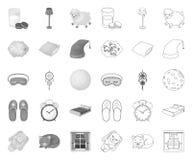 Odpoczywa mono i śpi, kontur ikony w ustalonej kolekcji dla projekta Akcesoria i wygoda symbolu zapasu wektorowa sie? ilustracja wektor