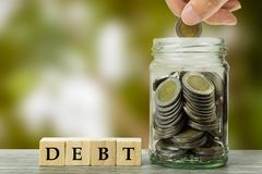 Odpowiedzialność i oszczędzania dla płatniczych pojęć obraz stock