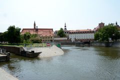 Odra river canal and old buildings in Wroclaw, Poland. Stock Photo