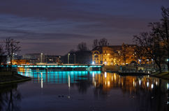 Odra river in Wroclaw by night Royalty Free Stock Photo