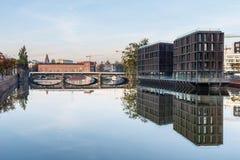 Odrarivier in Wroclaw, Polen Wroclaw is een stad in westelijk Polen en grootste stad in Silesië royalty-vrije stock foto