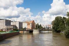 Odry rzeka w Wrocławskim mieście w Polska Zdjęcia Stock