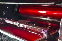 Odsadzki maszyny prasy druku atramentu magenta jednostka Zdjęcia Royalty Free