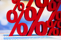 Odsetek, pojęcie dyskontowy kolorowy brzmienie Fotografia Stock