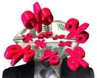 Odsetek zaznacza przybycie z pieniądze usta Zdjęcie Royalty Free