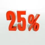 Odsetka znak, 25 procentów Fotografia Royalty Free