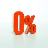 Odsetka znak, (0) procentów Zdjęcie Stock