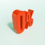 Odsetka znak, (0) procentów Zdjęcia Stock