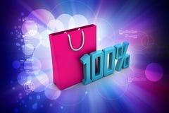 Odsetka znak z torba na zakupy Obraz Stock