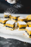 Odsiewu cukier nad cytryna baru ciastami Zdjęcia Royalty Free