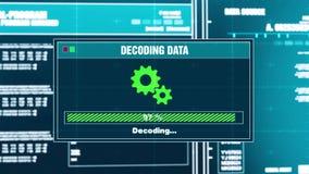 87 Odszyfrowanie dane postępu Ostrzegawczej wiadomości dane Odszyfrowywający ostrzeżenie na ekranie ilustracja wektor