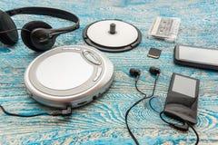 Odtwarzacz CD na błękitnym tle Fotografia Stock
