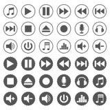 Odtwarzacz muzyczny ikony ustawiać zdjęcia stock
