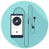 Odtwarzacz muzyczny z słuchawką na błękitnym tle, płaska wektorowa ikona Obrazy Royalty Free