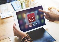 Odtwarzacza Muzycznego guzika ikony grafiki Podaniowy pojęcie Fotografia Stock