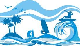 odtwarzanie bawi się wodną fala ilustracji