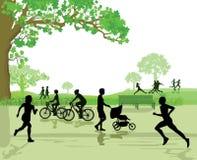 Odtwarzanie i sporty w parku royalty ilustracja