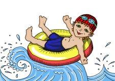 Odtwarzanie na wodzie Denny kąpanie Obrazy Royalty Free