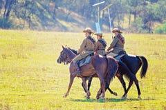 odtworzenie Lekkiego konia brygada Przy mężczyzną Od Śnieżnego Rzecznego Bush festiwalu 2019 obraz stock