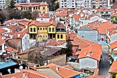 """View from the glass minaret. """"Odunpazari Historical Urban Site"""" is a significant example to cities established totally by the Turks within Anatolia royalty free stock photos"""