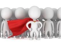 Odważny bohater z czerwoną peleryną przed tłumem ilustracji