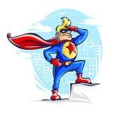 Odważny bohatera mężczyzna w kostiumu z czerwienią ilustracji