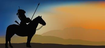 Odważny Indiański wojownik w górach ilustracji