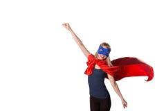Odważny kobieta bohater podnosił jej rękę up obrazy royalty free