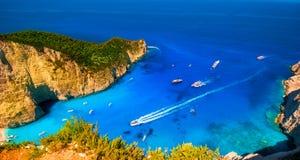 Odwiedzać kartę wyspa Zakynthos Podpalany Navagio Zdjęcia Royalty Free