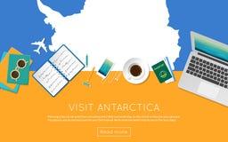 Odwiedza Antarctica pojęcie dla twój sieć sztandaru lub ilustracja wektor