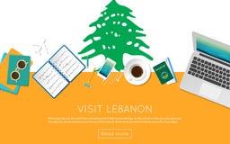 Odwiedza Liban pojęcie dla twój sieć sztandaru lub ilustracja wektor