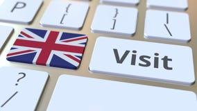 ODWIEDZA tekst i flagę Wielki Brytania na guzikach na komputerowej klawiaturze Konceptualna 3D animacja royalty ilustracja
