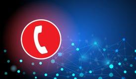 Odwoływa wywoławcze guzika telefonu ikony łączyć siecią i technologią royalty ilustracja