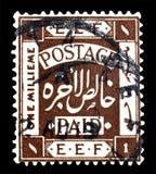 Odwoływający znaczek pocztowy drukujący Palestyna fotografia stock