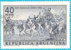 Odwoływający znaczek pocztowy przedstawia bitwę Maipu blisko Santiago, Chile na Kwietniu 5 i hiszpańszczyznach r, 1818 między poł fotografia royalty free