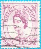 Odwoływający znaczek pocztowy, przedstawia Wielkiej Brytania Tangier królowej ElizabethII 1952-54 Issu obraz royalty free