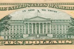 Odwrotna strona Amerykańscy dolary bill tła dolara Amerykańscy dolary Gotówkowego pieniądze obrazy stock