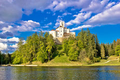 Odyllic lake hill castle of Trakoscan Stock Image