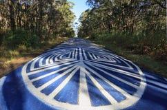 Odyssée de paix - les signes de graffiti de la paix scellent les roches NSW Photographie stock libre de droits