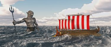 Odysseus and Poseidon in the stormy sea. Computer generated 3D illustration with Odysseus and Poseidon in the stormy sea Stock Photos