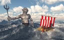 Odysseus and Poseidon in the stormy sea. Computer generated 3D illustration with Odysseus and Poseidon in the stormy sea Royalty Free Stock Photo