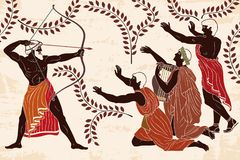 Odyssey and the suitors of Penilope. Mythological story of Homer. Odyssey kills the suitors of Penilope. An archer with weapons in his hands and men on their vector illustration