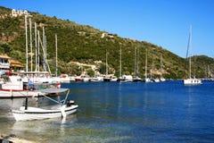 łodzi desimi Lefkada s morze Fotografia Royalty Free