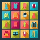 Odzieżowe płaskie ikony ustawiać - ilustracja Ilustracji