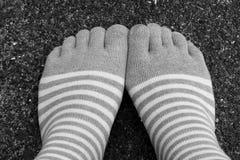 Odzieży skarpet pięć palców styl na Czarny I Biały Zdjęcie Stock